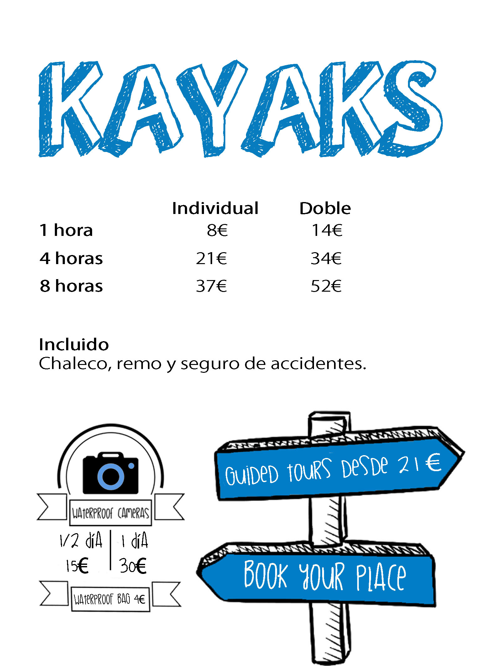 Kayaks for rent, Guided tours